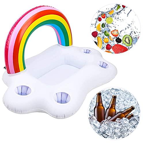 Poolbar aufblasbar Regenbogen-Wolke Getränkehalter Schwimmende Coasters für Pool Party Wasser-Spaß Strand Spielzeug mit 4 Getränk Löchern &1rechteckiger Nut Erwachsene & Kinder-Getränkehalter Pool