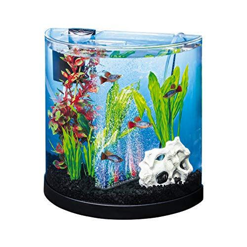 Tetra ColorFusion Starter aquarium Kit 3 Gallons, Half-Moon Shape, With Bubbler And Color-Changing Light Disc