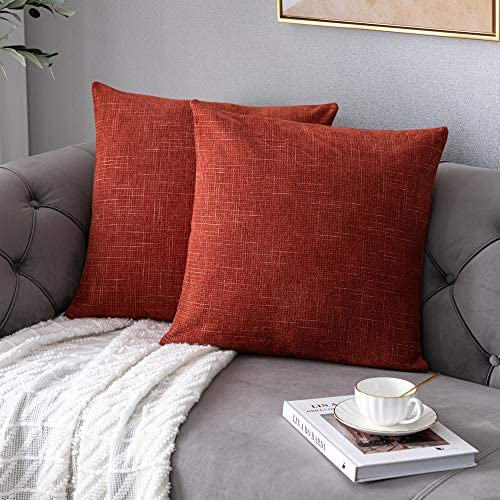 Anickal Large Rust Pillow Covers 24x24 Inch Set of 2 Rustic Farmhouse Chenille Decorative Throw product image