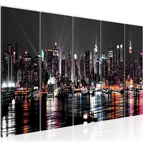 Bilder New York City Wandbild 200 x 80 cm Vlies - Leinwand Bild XXL Format Wandbilder Wohnzimmer Wohnung Deko Kunstdrucke Weiß 5 Teilig - MADE IN GERMANY - Fertig zum Aufhängen 601955a