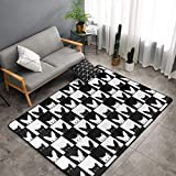 SWEET TANG Fashion Black and White Tile Cat Rabbit Set Race Checkered Flag Carpet Abstract Area Rug Contemporary Style, Superior Comfort Rugs for Bedroom Living Room Dorm