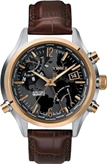 Timex Intelligent Men's T2N942 Quartz Watch with Black Dial Chronograph Display and Brown Leather Strap