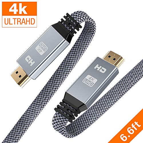 HDMI Cable 6.6ft (4K@60Hz, HDMI 2.0, 18Gbps), Snowkids 4K Flat High Speed HDMI 2.0 Cable Braided...