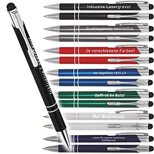 Kugelschreiber mit Gravur,Touch' - personalisierbar - hochwertige Kugelschreiber - 1-2 Tage Lieferzeit - Your Gravur -, Anzahl:10