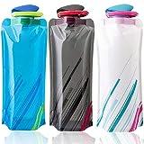 BESTZY Bottiglia di Acqua Pieghevole Set di 3,Bottiglie Flessibile Pieghevole Riutilizzabile Acqua per Escursionismo,Adventures,Viaggi,700ML