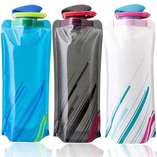 BESTZY Unisex Adult 700ML Faltbare Set von 3, Faltbarer Wasser-Flaschen-Satz Zusammenklappbare Flexible Wiederverwendbare Wasserflasche zum Wandern