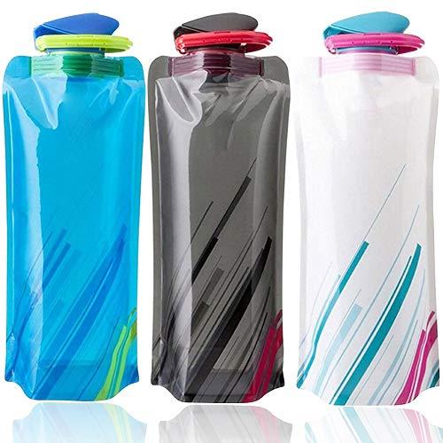 BESTZY 700ML Bouteilles d'eau Pliable Ensemble de 3 avec,Bouteille d'eau réutilisable Flexible Pliable pour la randonnée,Les Aventures,Les Voyages