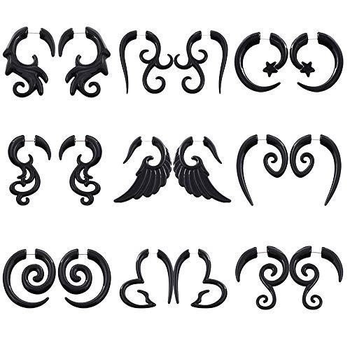 tmtonmoon 9 pares de pendientes para hombre, set de estiramiento de oreja, acrílico, pendientes de aro en espiral, pendientes de perno negro, para hombre y mujer