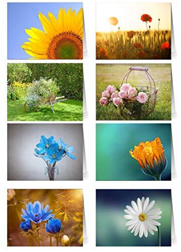 48 Grußkarten Blumen Klappkarten mit 48 Umschlägen Blumen & Garten