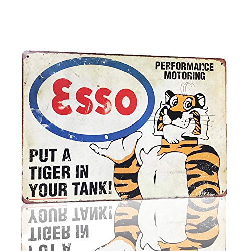 MMOUNT Esso Put A Tiger in Your Tanx Metal Tin Sign Wall Sign Art Poster Plaque House Gift 12X8Inch