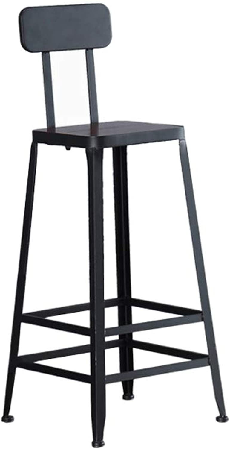 Bar Stool High Stool Nordic Wrought Iron Solid Wood Leather Modern Minimalist Bar Chair Home Creative Bar Stool Height 65 75   80cm (color   B, Size   75)