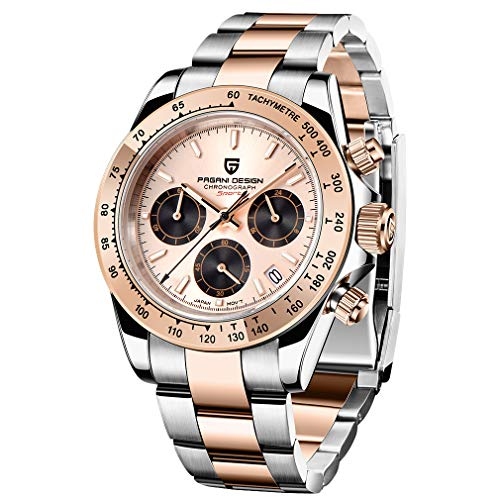 PAGANI DESIGN Men's Quartz Watch Japanese Movement Sports Chronograph Stainless Steel Multi-Function Waterproof Watch (Rose Gold)