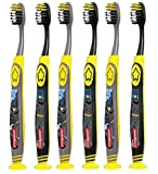 Colgate Batman Toothbrush for Children with Suction Cup, Kids 5+ Years Old, Extra Soft, Pack of 6