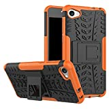 WindHülle Alcatel A5 LED Hülle, Outdoor Dual Layer Armor Tasche Heavy Duty Defender Schutzhülle mit Ständer Hülle für Alcatel A5 LED Orange