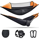 G4Free Large Camping Hammock with Mosquito Net 2 Person Pop-up Parachute Lightweight Hanging Hammocks Tree Straps Swing Hammock Bed for Outdoor Backpacking Backyard Hiking (Black/Orange)