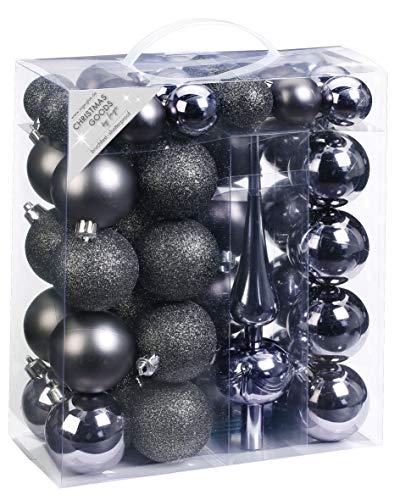 Inge-glas 47 Christbaumkugeln Kunststoff 4cm und 6cm mit Spitze Set, Farbe: grau Glanz/matt