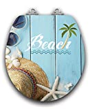 TOPSEAT Art of Acryl Round Toilet Seat w/ Slow Close Chromed Metal Hinges, Wood, Beach