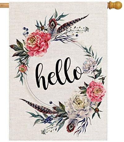pingpi Hello Floral Wreath House Flag 28 x 40 Double Sided Burlap Welcome Large Yard Garden product image