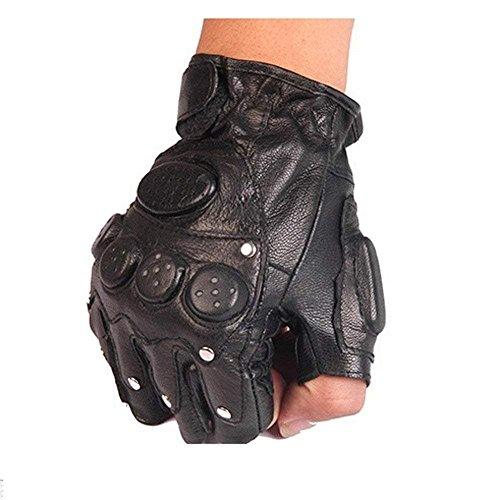 FCLANDING Men and Women Fingerless Gloves Wrist Half Finger Glove Tactical Gloves Ridding Gloves Fingerless Mittens Real Genuine Leather