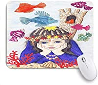 Mabby マウスパッド,Illustration of Little mermaid,ラップトップコンピュータPCオフィス用の滑り止めラバーベースマウスパッド、かわいいデザインデスクアクセサリー
