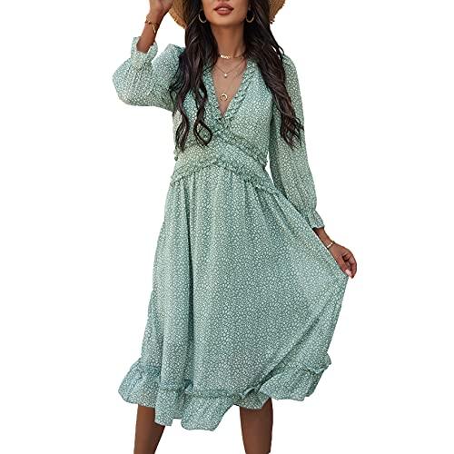 XYJD Lente en zomer vrouwen casual losse V-hals effen kleur afdrukken lange mouwen pullover jurk vrouwen - groen - 5XL