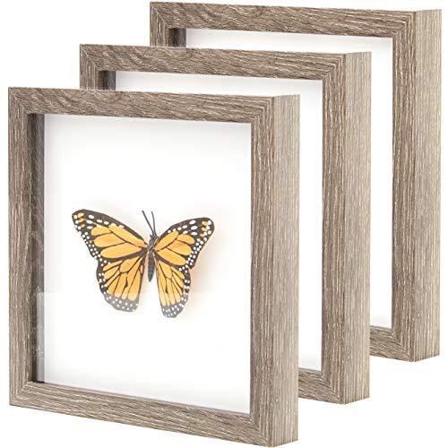 Super-Sturdy, Real Wood 8x10 Shadow Box Frame 3pk. Genuine Hardwood Displays with Real Glass. Best...
