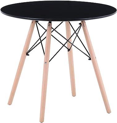GOLDFAN Table en Bois Table Ronde Salle Manger Scandinave Noir Table à Manger Table de Cuisine de Salle à Manger de Salon