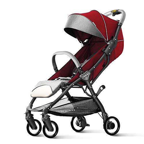 Kinderwagen, kan opvouwen opvouwen en lichte kinderwagen, kan het vliegtuig nemen, One Step vouwen, geschikt voor 0-36 maanden baby rood