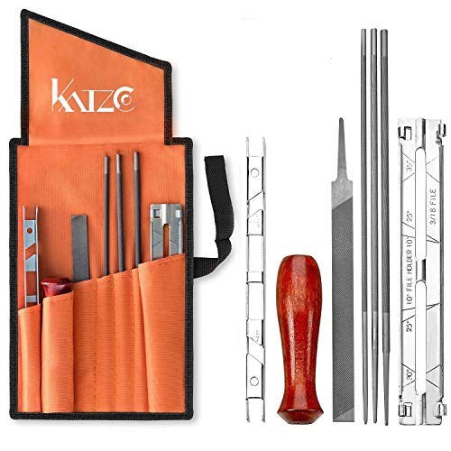 Katzco 8 Piece Chainsaw Sharpener File Kit - Contains 5/32, 3/16, 7/32 Inch Files, Wood Handle, Depth Gauge, Filing Guide, Tool Pouch - For Sharpening & Filing Chainsaws & Other Blades - By