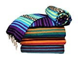 Spirit Quest Supplies Bodhi Blanket Mexican Style Throw Blanket - Falsa Blanket for Yoga, Picnics, Beach, Tapestry, Camping, & More (Cool Waters: Turquoise, Violet Purple, Lime Green, Black, Tan)