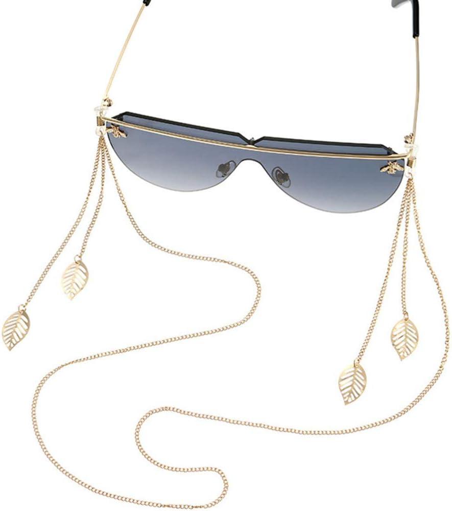 Healifty Eyeglass Chain Metal Golden Leaves Eyeglass Holder Chain for Eyeglass Sunglass