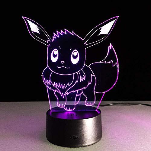 Magische 3D-Laterne, Led-Nachtlicht, Pikachu-Form Aus Acryl, Mit 7 Farbwechselnden Touch-Fernbedienungslampen, Geeignet Für Dekorationsgeschenke