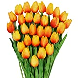 Omygarden 30pcs Orange Artificial Tulips Flowers, Fake PU Flowers for Thanksgiving Wedding Party Home Office Decoration