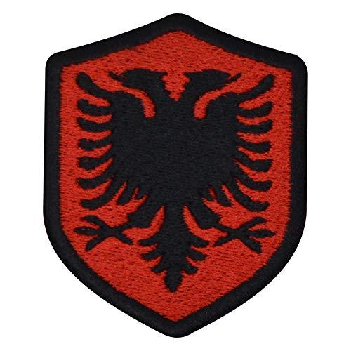 benobler FanShirts4u Aufnäher - ALBANIEN - Wappen - 7 x 5,6cm - Bestickt Flagge Patch Badge Fahne Albania (Schwarze Umrandung)