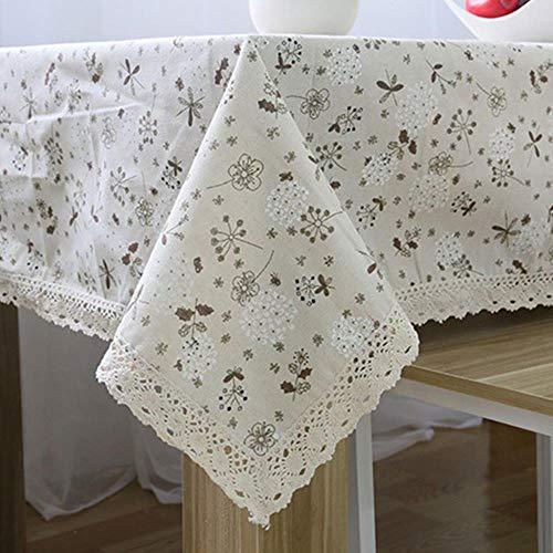 Ydzm Mantel rectangular de lino y encaje, mantel de crochet, decoración del hogar, flores, 140 x 200 cm