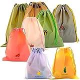 Waterproof Drawstring Bags, 8 Pack PE Draw String Bag Folding Storage Sack Folding Tote Sack for Outdoor Gym Sport Swim Travel Wash School Home Travel Clothing Storage Bag 8 Patterns 3 Sizes