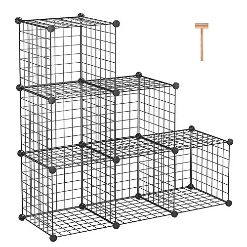 "C&AHOME Wire Storage Cubes, Metal Grids Book Shelf, Modular Shelving Units, Stackable Bookcase, 6 Cubes Closet Organizer for Home, Office, Kids Room, 36.6""L x 12.4""W x 36.6""H Black"