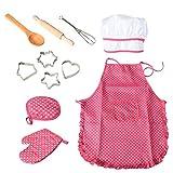YUXINYAN Mandil Set de Delantal para niños de 11 Piezas Cocinar para niños Sistema de Hornear Chef Sombrero y Guantes Utensilios de Cocina Dress Up Chef COSTUSE Cosplay Delantales (Color : A)