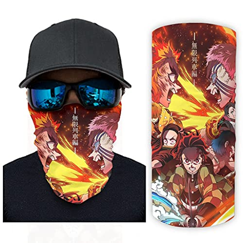 CCMugshop Bandanas Face Gaiter Anime Kimetsu no Yaiba Fire Print Bandana Scarf Breathable White One Size