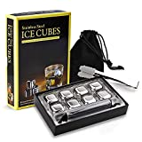 Whiskey Stones 8pcs Stainless Steel Whiskey Ice Cubes Reusable Chilling Stones Bourbon Whisky gifts...