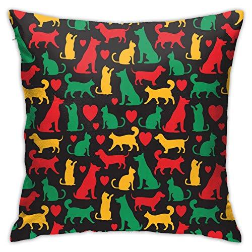 Funda de almohada cuadrada con diseño de gatos y perros en negro, para dormitorio, oficina, 45,72 x 45,72 cm