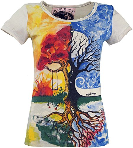 Guru-Shop Mirror T-Shirt, Damen, Tree of Life/Beige, Baumwolle, Size:L (40), Bedrucktes Shirt Alternative Bekleidung