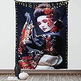 BONRI 60'x 80',Tapiz de Japón, Joven Geisha en Kimono con Maquillaje de Traje Tradicional Oriental de Sakura, decoración para Colgar en la Pared de Tela para Dormitorio, Sala de Estar, Dormitorio
