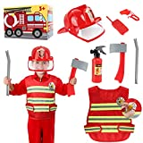 Kids Fireman Costume, Halloween Fireman Dress Up Set, Fire Fighter Outfit, Pretend Role Play Firefighter Gifts with Helmet and Accessories for 3, 4, 5, 6 Year Old Toddler