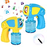 WisToyz Bubble Machine Automatic Bubble Gun Pack of 2 Bubble Blowers for Indoor Outdoor, Bubble Machine for Kids with Bubble Solution Refill, 3 AA Batteries Required for Each Bubble Shooter