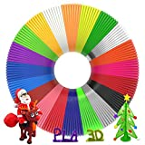 3D Pen Filament 400 Feet 20 Colors, Glow in The Dark Refills PLA Bonus 250 Stencil eBook, 3D Pen/Printer Filament 1.75mm Smooth Printing