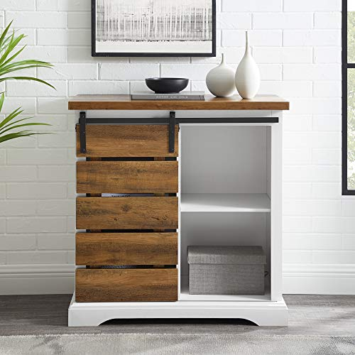 Walker Edison Furniture Company Modern Farmhouse Buffet Sideboard Kitchen Dining Storage Cabinet Living Room, 32 Inch, Reclaimed Barnwood Brown
