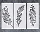 GSS Designs Feather Wall Stencil (3 Pack) - Large Fancy Mandala Feather Stencil (8x17 Inch) for Painting on Wall Furniture Floor Fabric Stencils - Reusable Stencils Template for Wall Decor (SL-079)