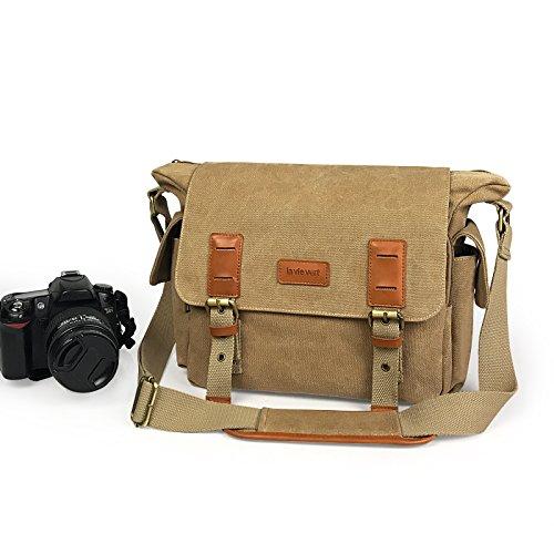 Lavievert lona y piel auténtica SLR bolsa de cámara DSLR Mensajero Hombro Bolsa con a prueba de golpes acolchado tanque bolsa para cámaras digitales, tabletas, teléfonos, grabadora de vídeo Fotografía
