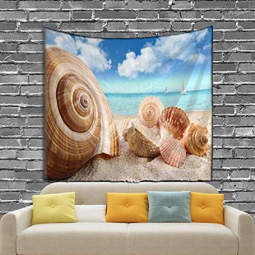 AdoDecor Mejillón de Playa y la Gaviota Hermoso Tapiz escénico Impresión Digital Toalla de Playa 150x200cm/59 * 79inch